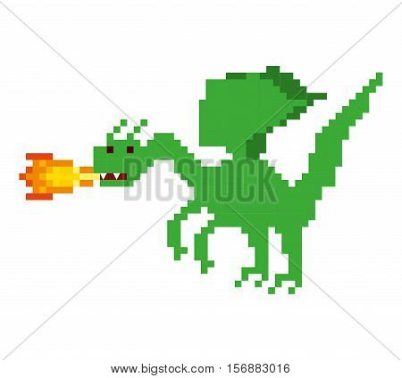 dragon beast pixelated icon vector illustration design