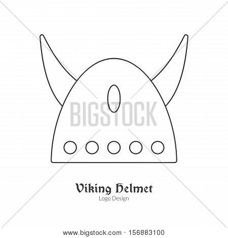 Medieval horned Viking helmet. Single viking logo in modern thin line style isolated on white background. Outline medieval theme symbol. Simple mono linear pictogram. Stroke vector logotype template.