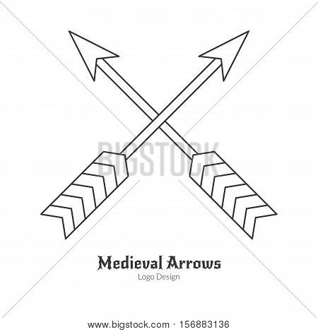 Medieval crossed arrows. Single archery weapon logo modern thin line style isolated on white background. Outline medieval theme symbol. Simple mono linear pictogram. Stroke vector logotype template.