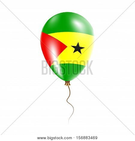Sao Tome And Principe Balloon With Flag. Bright Air Ballon In The Country National Colors. Country F