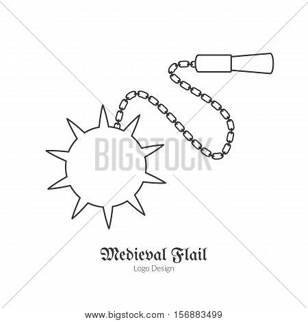 Medieval flail mace. Morning star. Single logo in modern thin line style isolated on white background. Outline medieval theme symbol. Simple mono linear pictogram. Stroke vector logotype template.