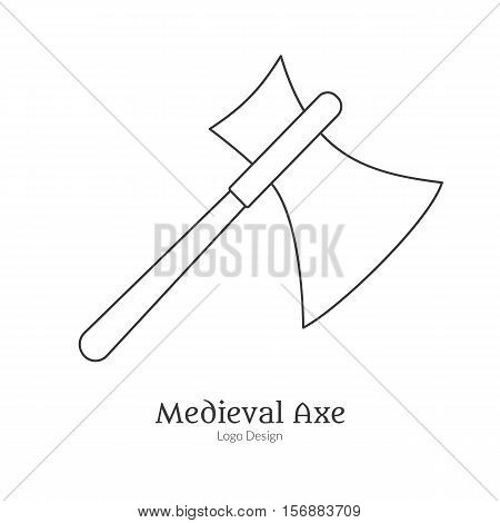 Medieval guard battle axe broadax. Single logo in modern thin line style isolated on white background. Outline medieval theme symbol. Simple mono linear pictogram. Stroke vector logotype template.