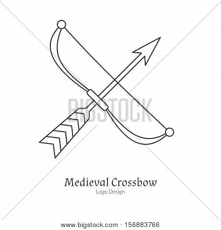 Medieval crossbow arbalest. Single archery logo in modern thin line style isolated on white background. Outline medieval theme symbol. Simple mono linear pictogram. Stroke vector logotype template.