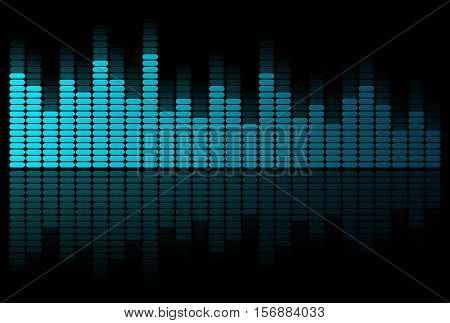 Abstract blue graphic equalizer on a black background.
