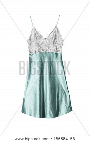 Lacy satin cyan nightdress isolated over white
