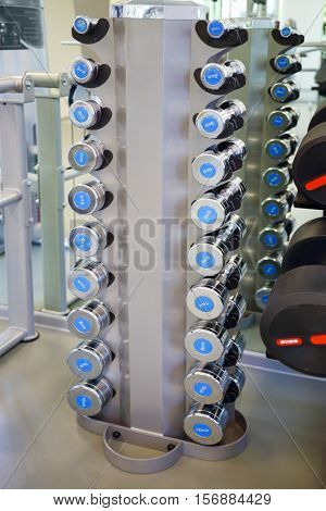 Set of small light dumbbells for women on rack in modern empty gym