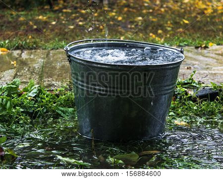 a bucket of water. Water dripping from the roof. rain