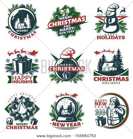 Nine isolated vintage christmas labels in color with various new year decorative symbols needles presents superscriptions vector illustration