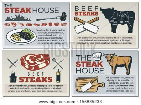 Colored steak poster design set with place for text about steak house vector illustration