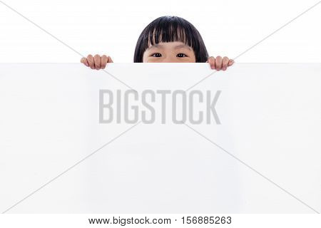 Asian Chinese Little Girl Peeping Behind White Board