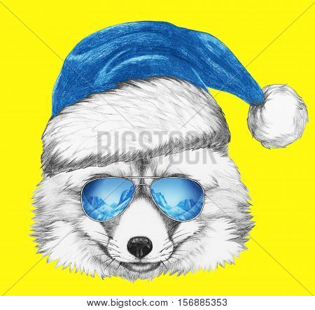 Portrait of Fox with Santa Hat and sunglasses. Hand drawn illustration.