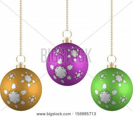 Christmas balls in different colors on white background