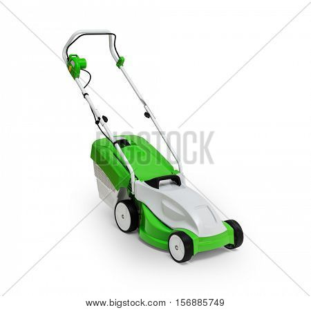 Lawn mower isolated on white background -Clipping Path