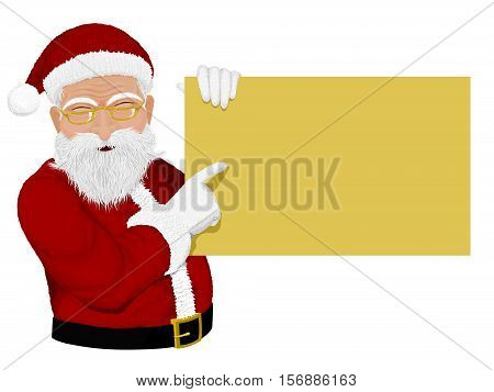 Santa presenting advertisment board. High definition of texture and you can manage size and color of advertisement board freely