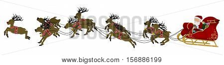 isolated santa on his sleigh with his nine reindeer on transparent background