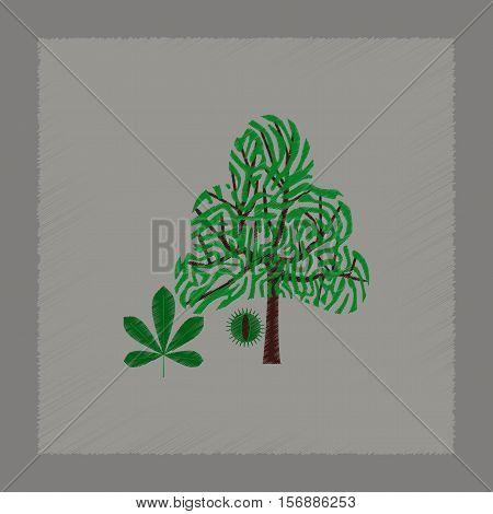 flat shading style illustration of tree Castanea