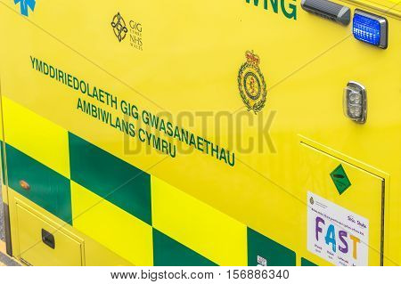 WREXHAM UK - AUGUST 30 2016: Detail of the side of a Welsh emergency service ambulance.