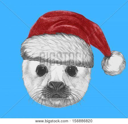 Portrait of Baby Fur Seal with Santa Hat. Hand drawn illustration.