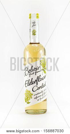WREXHAM UK - OCTOBER 27 2016: Bottle of Belvoir Elderflower cordial on a white background.