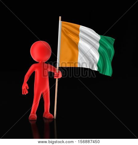 3D Illustration. Man and Cote d'ivoire flag. Image with clipping path