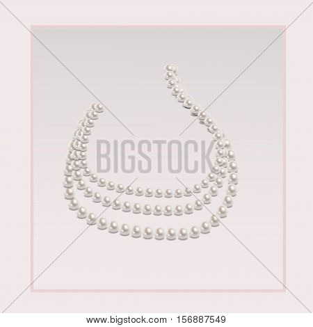 Elegant pearl necklace on a light gray background
