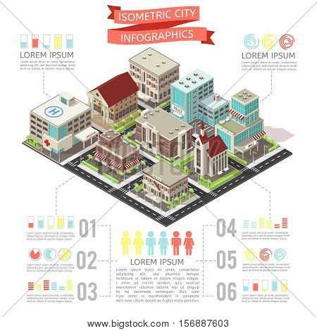 Isometric city infographics with buidings and road infrastructure charts and text on white background vector illustration