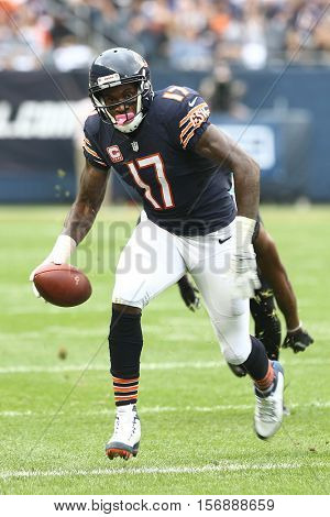 CHICAGO-OCT 16: Chicago Bears wide receiver Alshon Jeffery (17) carries the ball during the game against the Jacksonville Jaguars on October 16, 2016 at Soldier Field in Chicago, Illinois.