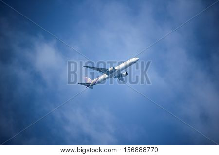 CHIANG MAI THAILAND - OCTOBER 13 2016: Boeing 777-300 HS-TKB TG103 of Thai airway. Take off from Chiangmai airport to Bangkok Suvarnabhumi thailand.
