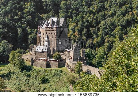 Burg Eltz castle in the hills above the Moselle River in Germany.