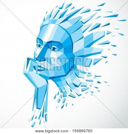 3d vector illustration of human head created in low poly style. Face of pensive female smart personality.