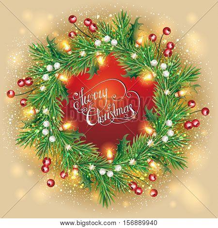 Christmas wreath. (vector illustration)