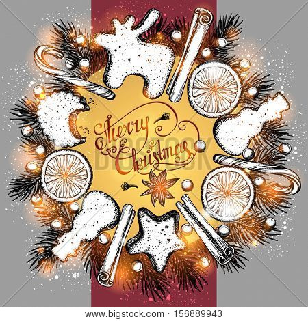 Holidays frame. Christmas sweets. Cookies, berries, spices, fir-tree branch. Hand drawn Christmas elements. Vector illustration.