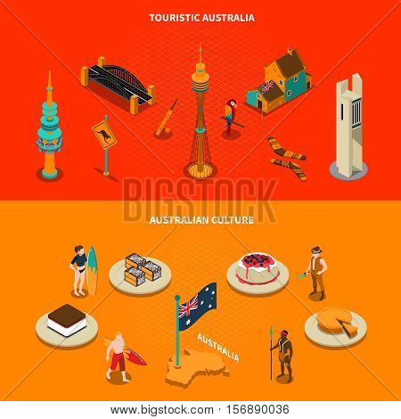 Australian culture landmarks and famous sights for tourists 2 isometric horizontal banners with dessert dishes isolated vector illustration