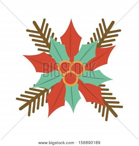 christmas flower decorative icon vector illustration design