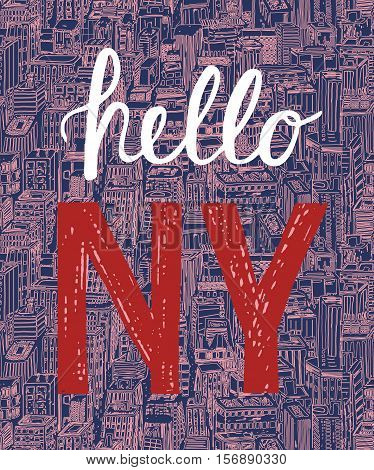 Vintage Poster With Quote Hello New York