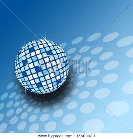 A sparkly blue mirrorball illustration