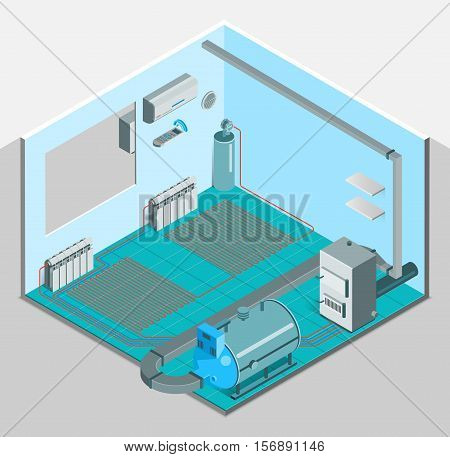 Heating cooling system interior isometric template with conditioner compressor heater boiler in flat style isolated vector illustration