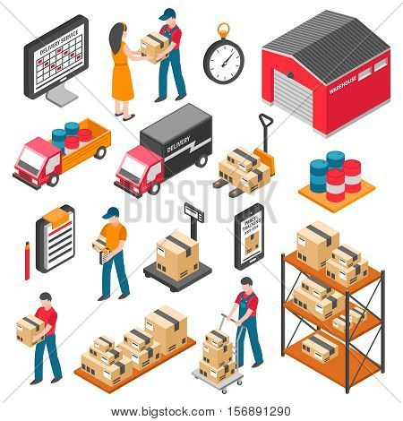 Logistics and delivery isometric icons set with warehouse workers boxes forklifts and cargo transport vector illustration