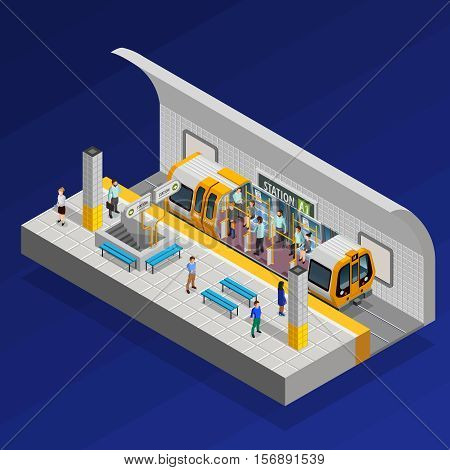 Underground station isometric concept with train and people on blue background vector illustration