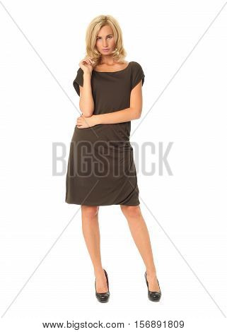 Full Length Of Flirtatious Woman In Brown Dress Isolated On White