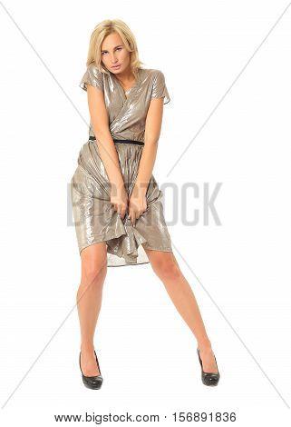 Full Length Of Flirtatious Woman In Disco Dress Isolated On White