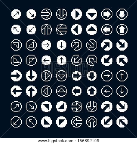Different vector arrows pixel icons isolated collection of 8bit graphic elements.