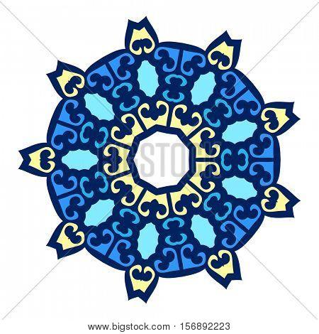 Kazakh round ornament, Isolated design element, Vector illustration