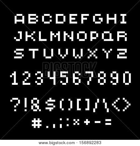 Vector modern numbers letters and punctuation marks created in technology style.