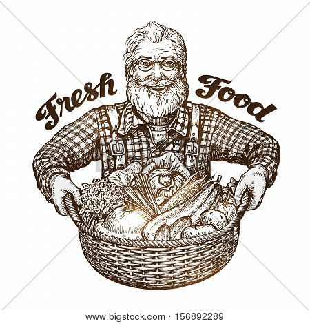 Farmer with basket of fresh vegetables. Sketch vector