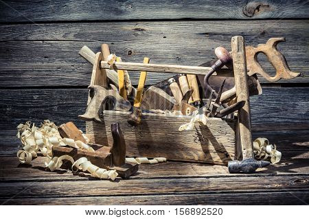 Old Wooden Joinery Tool Box On Old Wooden Table