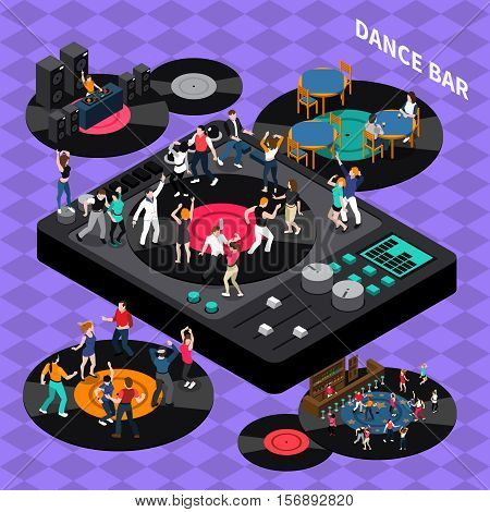 DJ club bar retro style vinyl discs dance floor isometric composition poster with rhythmic moving people vector illustration