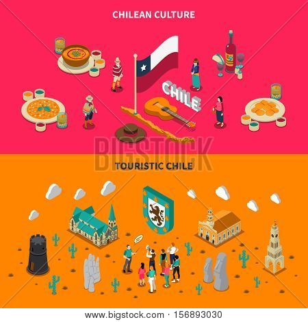 Chile top touristic attractions 2 isometric horizontal banners with national dishes and places of interest isolated vector illustration
