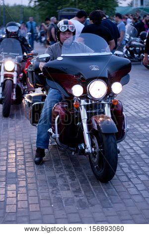 MOSCOW RUSSIA - OCTOBER 6 2013: Biker at meetup at Vorobyovi Gori near Moscow State University.