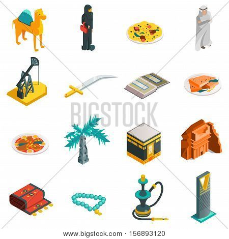 Saudi Arabia isometric touristic icons set with main arabian sights and elements in flat style vector illustration